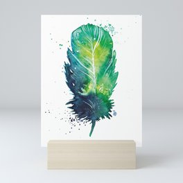 Watercolor Feather with Paint Splatters Mini Art Print