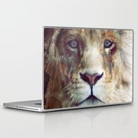 cat coquillette Laptop & iPad Skins featuring Lion // Majesty by Amy Hamilton