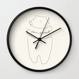 Love Yourself Bear Wall Clock
