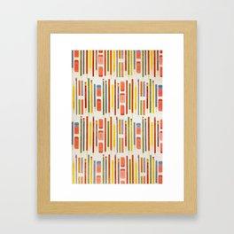 Rainbow Pencils Ruler School Pattern Framed Art Print