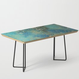 Blue And Gold Modern Abstract Art Painting Coffee Table