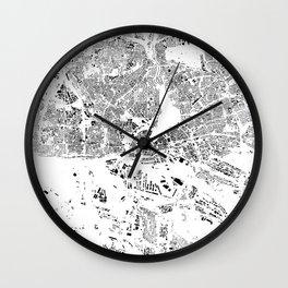 Hamburg Map Schwarzplan Only Buildings Wall Clock