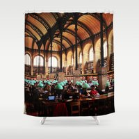 library Shower Curtains featuring Paris Library by MarianaManina