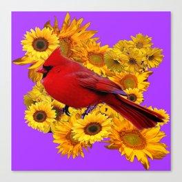 RED CARDINAL & YELLOW SUNFLOWERS PANTENE PURPLE Canvas Print