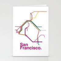 san francisco map Stationery Cards featuring San Francisco Transit Map by Ariel Wilson