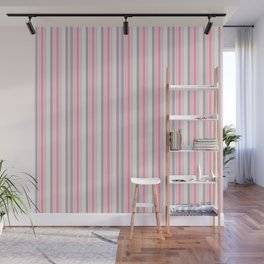 Classic Pink and Gray Stripes Wall Mural