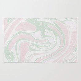 Paper Marbling Marble Effect Swirl Pink Green Rug