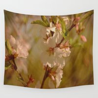 cherry blossoms Wall Tapestries featuring Cherry Blossoms by Dorothy Pinder