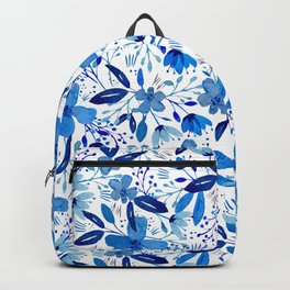 Blue Watercolour Florals Backpack