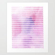 Houndstooth pink watercolor Art Print