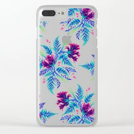 Ferns and Parrot Tulips - Blue Pink Clear iPhone Case