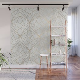 Gold Geometries on Marble Wall Mural