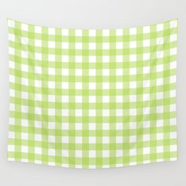 Green gingham pattern Wall Tapestry
