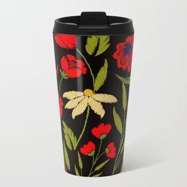 Floral embroidery Metal Travel Mug