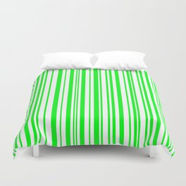 Lines, Lime green on white Duvet Cover