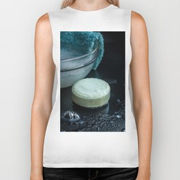 French lavender soap bar with bubbles on dark background Biker Tank