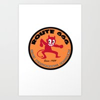 decal Art Prints featuring Hot Rod Retro Decal by Pixel Villain