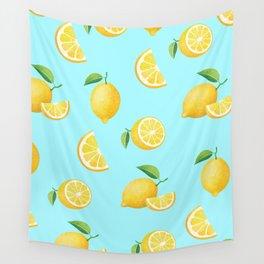 Lemons on Blue Wall Tapestry