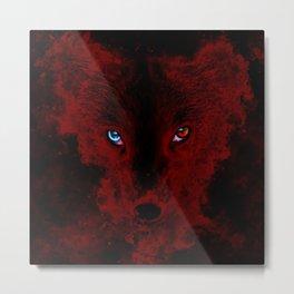arctic fox bicolor eyes ws sub Metal Print