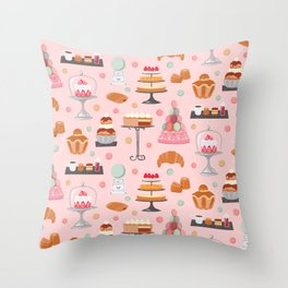 French pastries in pastel Throw Pillow