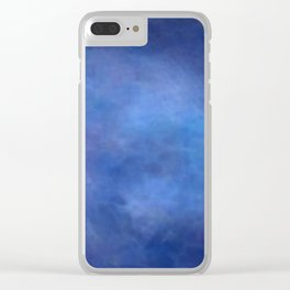 Abstract Soft Watercolor Gradient Ombre Blend 2 Deep Dark Blue and Light Blue Clear iPhone Case