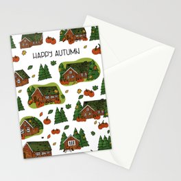 Brown scandinavian greenlandian wooden houses, trees, forest, maple leaf, spiders, cobweb, grass on the roof with white borders and Happy autumn text, can be used as seamless pattern Stationery Cards