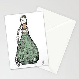 Antique perfume bottle. Vintage green Stationery Cards