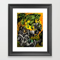 Doktor Steampug Versus Gorillizard! Framed Art Print