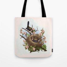 Vintage Birds with Nest Pink Tote Bag