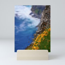 Cliffs at sea with wildflowers   Cliffs of Moher, Ireland   Fine art nature photography Mini Art Print