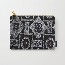 Black White Blue Red Mosaic Print Carry-All Pouch