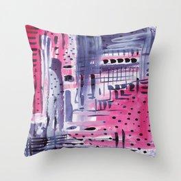 Purple colored rain Throw Pillow
