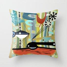 Mid Century Modern Fish Art Throw Pillow
