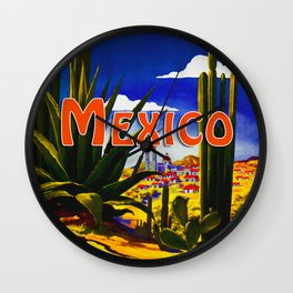 Vintage Mexico Village Travel Wall Clock