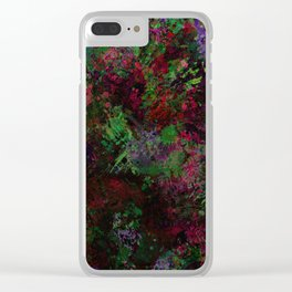 Purple Warfare - Abstract purple, pink, green and black abstract Clear iPhone Case