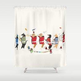 the jazz parade Shower Curtain