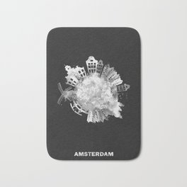 Amsterdam, The Netherlands Black and White Skyround / Skyline Watercolor Painting (Inverted Version) Bath Mat