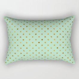 Chic Gold and Mint Dots Rectangular Pillow