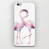 Two Flamingos Watercolor Flamingo Love iPhone & iPod Skin
