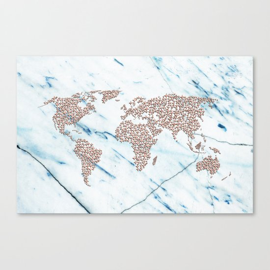 Rosegold Stars on Blue Marble World Map Canvas Print