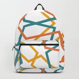 Orange Yellow Turquoise Geometric Tile Pattern Backpack