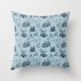 Eurasian Wolf Toile Pattern (Blue-Gray) Throw Pillow