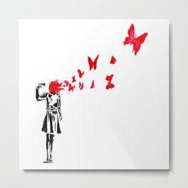gun and butterflies banksy Metal Print