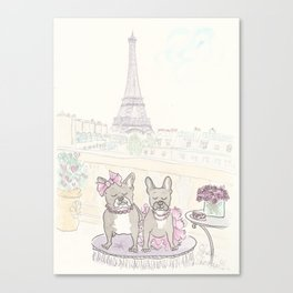 French Bulldogs and Tea in Paris with Eiffel Tower View Canvas Print