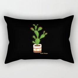 Flowering Cactus on Black Background Rectangular Pillow
