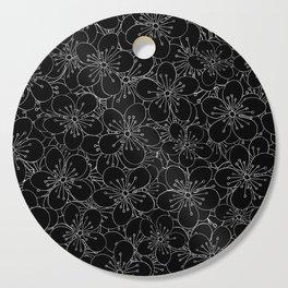 Cherry Blossom Black on White - In Memory of Mackenzie Cutting Board
