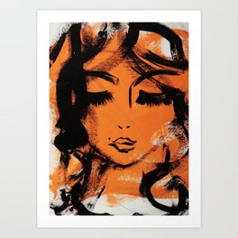 peach lady Art Print