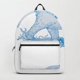 Polar Bear Walking Side Drawing Backpack