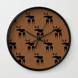 Brown Moose Pattern Wall Clock