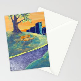 Serenity of the Park Bench at Sunset Stationery Cards